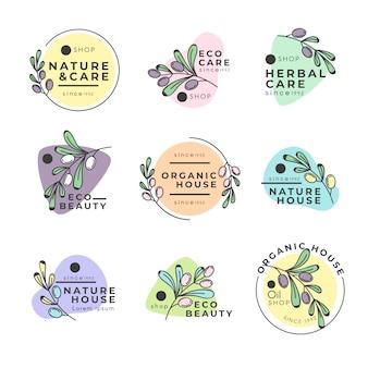 Negócio natural em pacote de logotipo de estilo minimalista