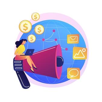 Negócio online intercontinental, empresa internacional, promoção na internet. personagem de desenho animado de empresária. filiais de empresas africanas e americanas
