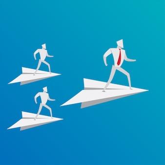 Negócio, pessoas, conceito, negócio, equipe, conduzir, avião, papel, origami, estilo