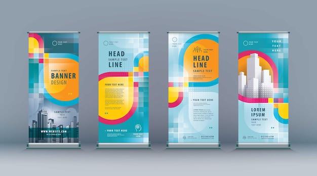 Negócio roll up set standee design banner template abstrato colorido infinito loop jflag