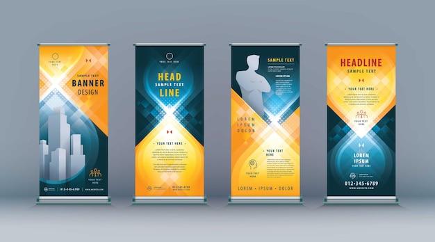 Negócio roll up set standee design banner template abstrato preto e amarelo infinito geométrico