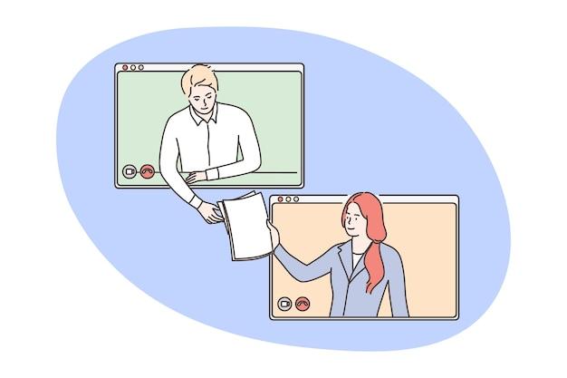 Negócio, videoconferência, conceito de terceirização.
