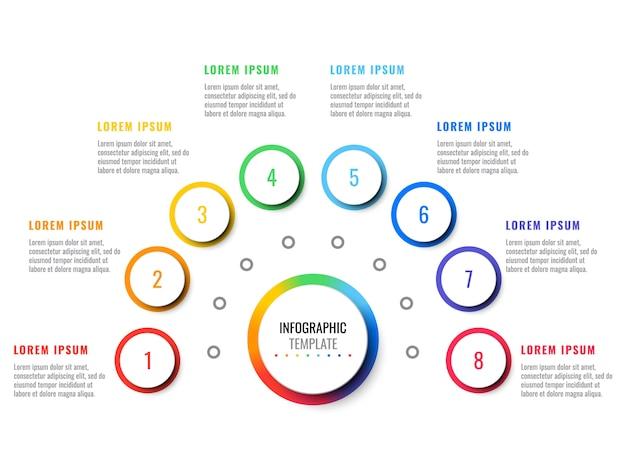 Negócios 3d realista infográfico com oito etapas.