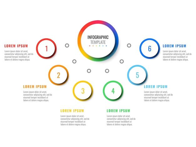 Negócios 3d realista infográfico com seis etapas.