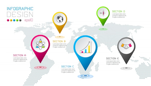 Negócios apontando rótulos forma infográfico.