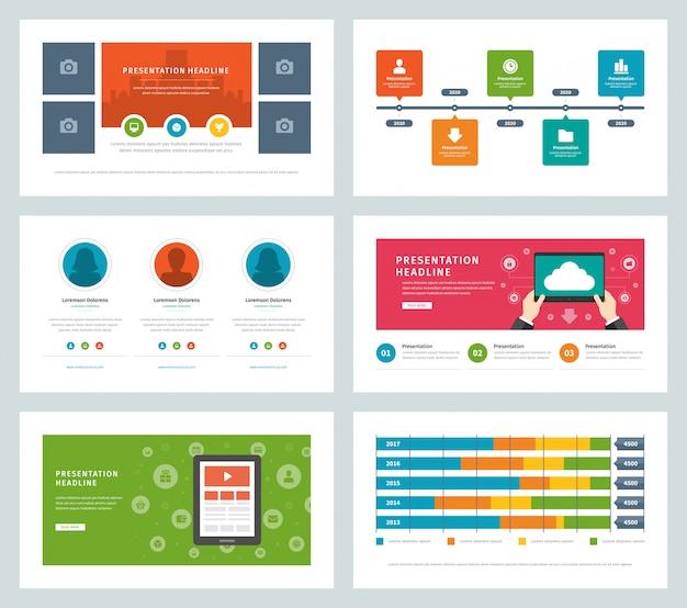 Negócios apresentação modelos design plano vetor infográfico ícones e elementos.