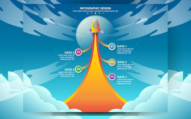 Negócios arranque design de modelo de infográfico. vector o conceito da ilustração da web infographic do projeto com etapa da opção de 5 números.