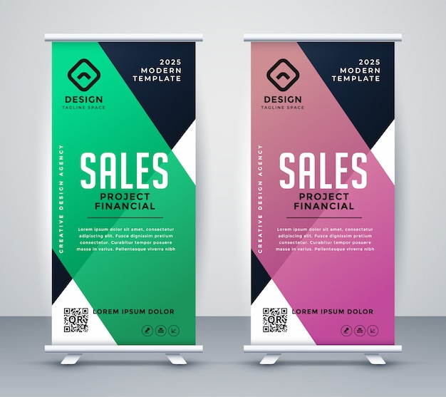 Negócios arregaçar banner ou modelo de design de standee