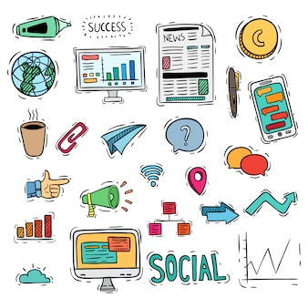 Negócios coloridos ou ícones de mídia social com estilo doodle