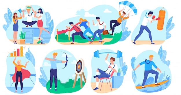 Negócios como conceito de esporte, personagens de desenhos animados de pessoas, realização de carreira bem sucedida, ilustração
