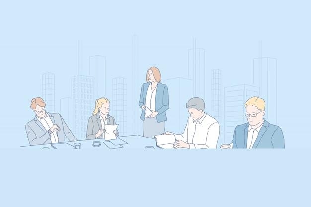 Negócios, conferência, trabalho em equipe, empresa, conceito de pessoal