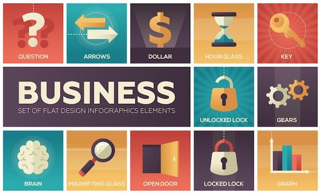 Negócios - conjunto de elementos de infográficos de design plano. ícones quadrados metafóricos. pergunta, setas, dólar, ampulheta, chave, fechadura desbloqueada e bloqueada, engrenagens, cérebro, lupa, porta aberta, gráfico