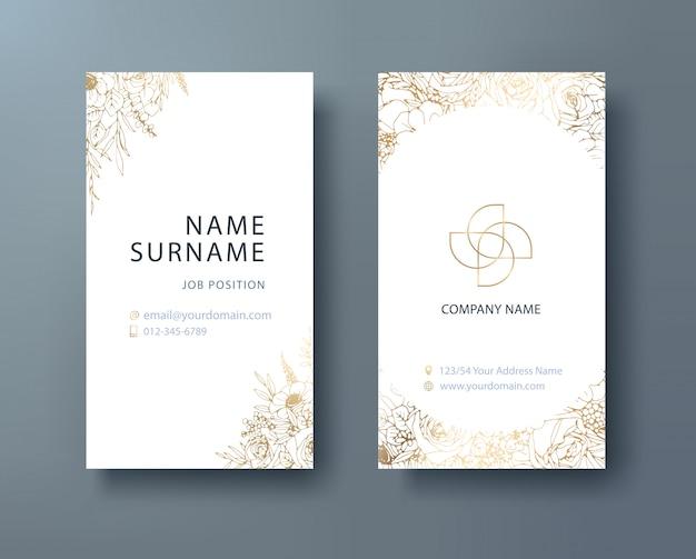 Negócios corporativos florais, modelo de design de cartão de nome pessoal.
