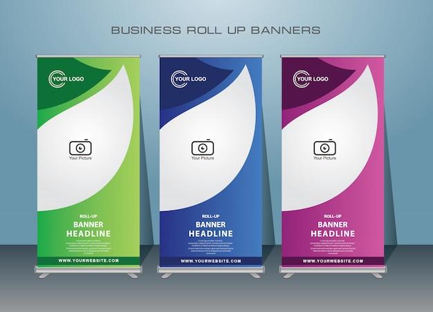 Negócios criativos roll up banner. design de banner em pé.
