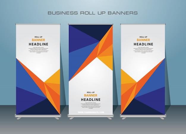 Negócios criativos roll up banner modelos. design de banner em pé.