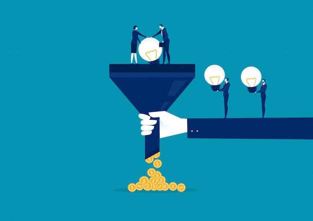 Negócios da equipe segurando lâmpada funil de entrada grande criar ilustrador de dinheiro.