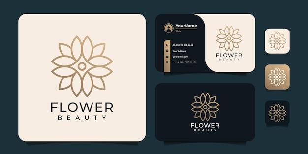 Negócios de casamento de meditação com logotipo de flor de beleza minimalista