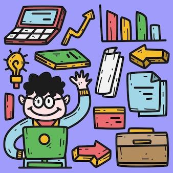 Negócios de doodle kawaii desenhado à mão