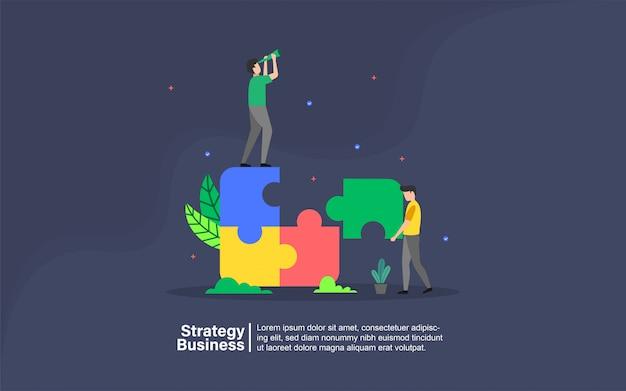 Negócios de estratégia com banner de personagem de pessoas