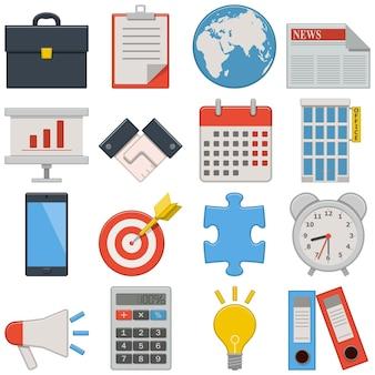 Negócios de ícones planos isolados em fundo branco