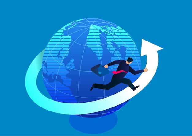 Negócios de sucesso e empresário de busca correndo em flechas ao redor da ilustração de ações da terra