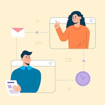 Negócios de vetor plano inteligente trabalhando e trabalhando on-line, qualquer conceito de local de trabalho
