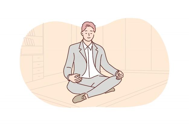 Negócios, descanso, meditação, yoga, conceito de relaxamento