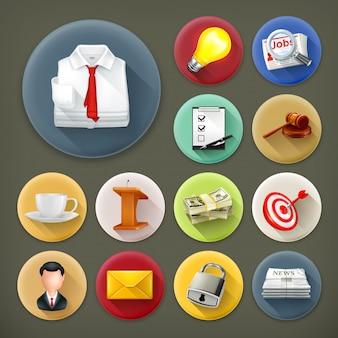 Negócios e escritório, longo conjunto de ícones de sombra