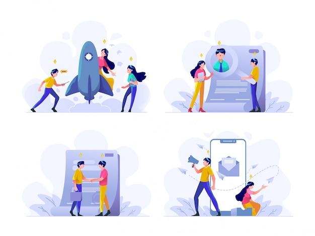Negócios e finanças ilustração design de gradiente plano estilo, inicialização, pesquisa de trabalhadores, contrato, megafone, marketing de mídia social na internet