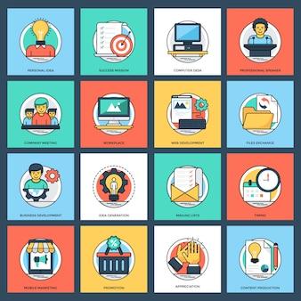 Negócios e gerenciamento de dados ícones do vetor plana