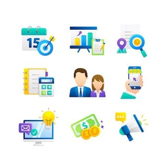 Negócios e ícones de conceito de design plano de marketing digital para aplicativos e serviços da web e dispositivos móveis