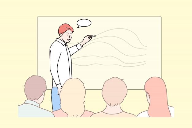 Negócios, educação, apresentação, reunião, conferência, conceito de formação