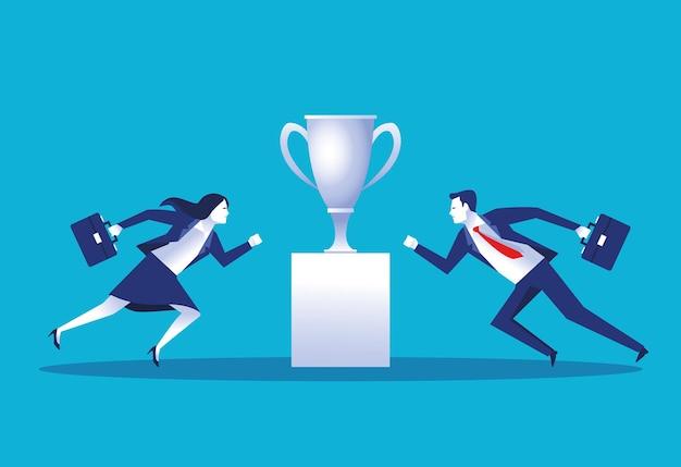 Negócios elegantes casal trabalhadores com ilustração de personagens na taça de troféu