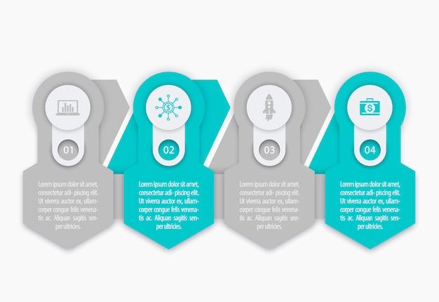 Negócios, elementos de infográficos de finanças, 1, 2, 3, 4 etapas, linha do tempo