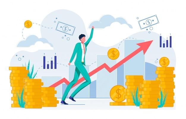 Negócios em crescimento, aumentando a renda plana.