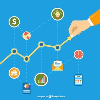 Negócios em rede social gráfico