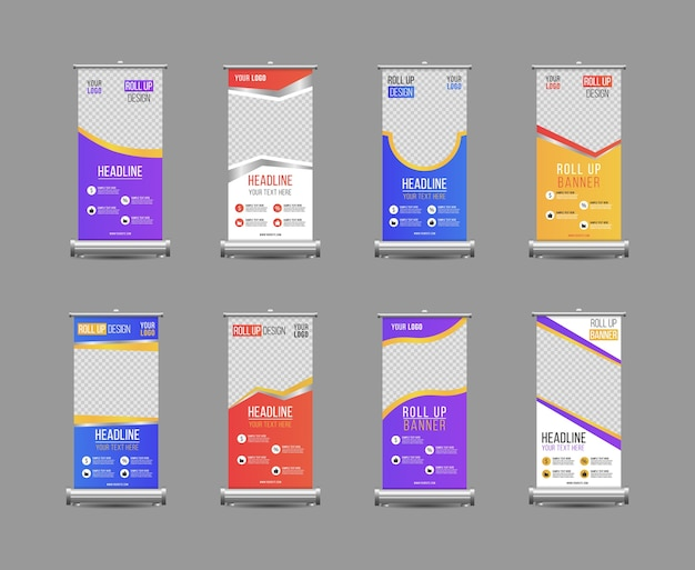 Negócios enrole o design do modelo vertical de banner, para brochura, negócios, folheto, infográficos. enrole o design do carrinho da bandeira com balão colorido geométrico abstrato. Vetor Premium