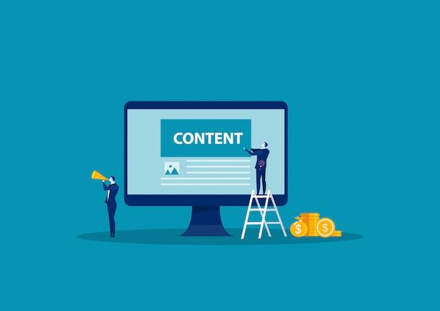 Negócios envolvidos no processo de fluxo de trabalho de criação de conteúdo. desenvolvimento de canais on-line de blogs, atração de seguidores e assinantes. plano de conteúdo
