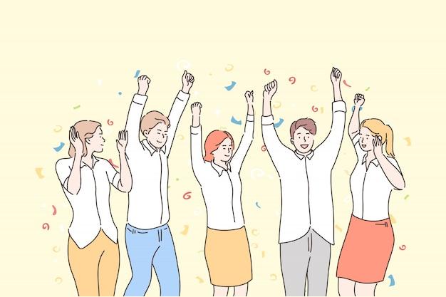 Negócios, equipe, comemoração, sucesso, conceito de realização de objetivos