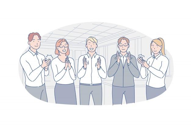 Negócios, equipe, parabéns, ilustração de aplausos