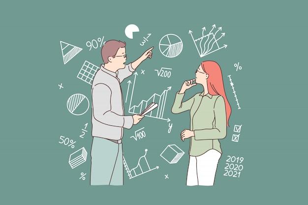 Negócios, estudo, estratégia, pergunta, conceito de trabalho em equipe.