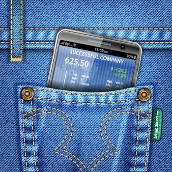 Negócios financeiros com jeans conceito