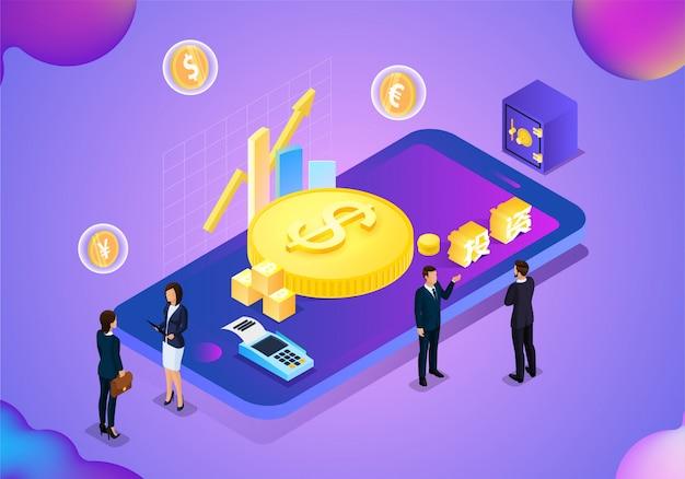 Negócios financeiros do telefone móvel