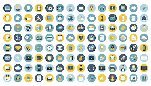 Negócios, gestão, finanças e tecnologia conjunto de ícones