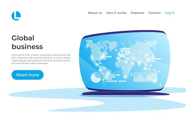 Negócios globais, análises, estratégia, planejamento, conceito de gestão financeira. amostras globais do modelo da página de destino