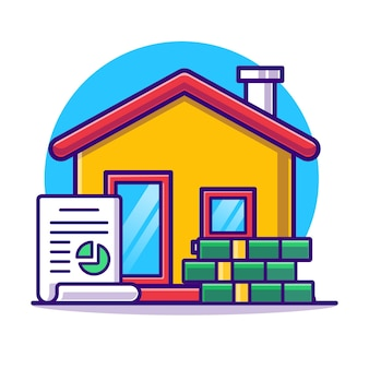 Negócios imobiliários com acordo e dinheiro plano.