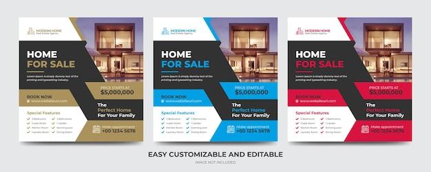 Negócios imobiliários mídia social pós banner e modelo de folheto quadrado