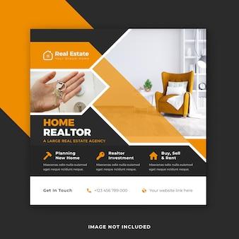 Negócios imobiliários publicidade mídia social pós banner design premium vector