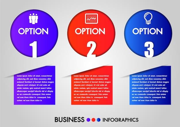 Negócios infográficos círculo 3 passos