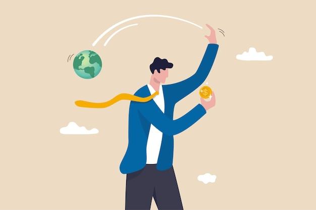 Negócios irresponsáveis destroem o mundo, a mudança climática ou o aquecimento global causado por uma grande empresa, empresário ganancioso proprietário da empresa feliz segurando moedas de dinheiro preciosas enquanto joga fora o planeta terra.